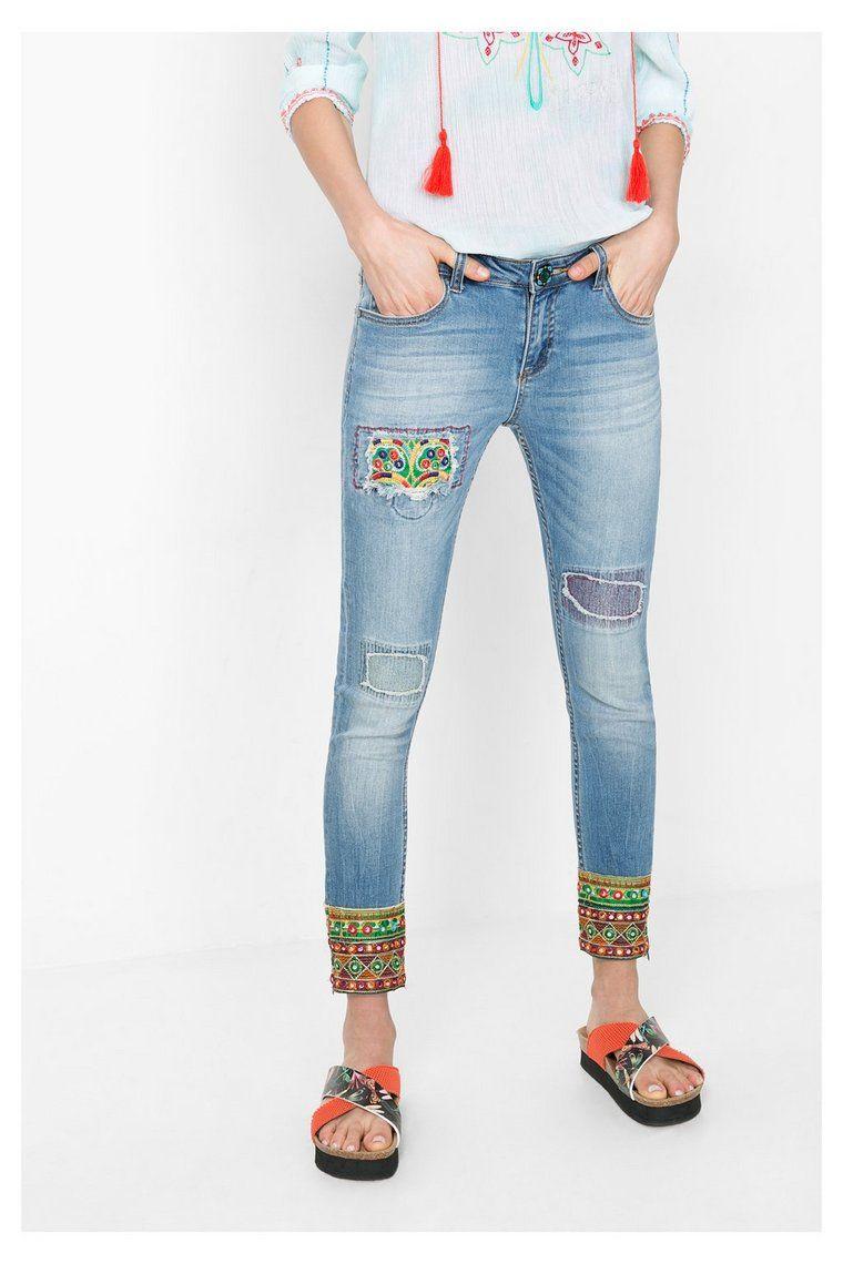 Womens Denim_Ethnic Ankle Skinny Jeans Desigual xHtmF8