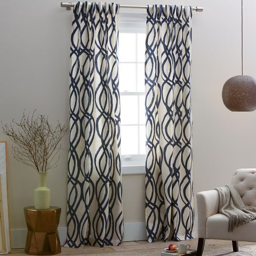 Scribble Drawing Room : Cotton canvas scribble lattice curtains set of