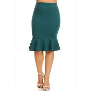 f8fb2e779068 Women's Plus Size Solid Mermaid Silhouette Skirt (Green - 1X), MOA  Collection