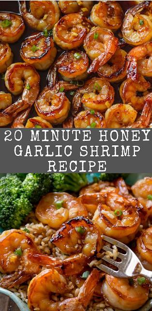 20 Minute Honey Garlic Shrimp Recipe #garlicshrimprecipes