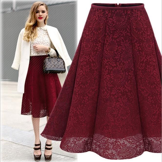 c2b7b09d61f Women S Apparel Lace High Stretch Waist Career Business Midi Casual Full  Skirt