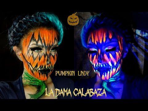 Dama CALABAZA con maquillaje NEON/ PUMPKIN lady neon Halloween