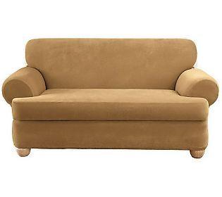 Sure Fit Stretch Pique 3 Piece T Cushion Sofa Slipcover T Cushion Sofa Slipcover Slipcovered Sofa Slipcovers 3 piece t cushion sofa slipcover