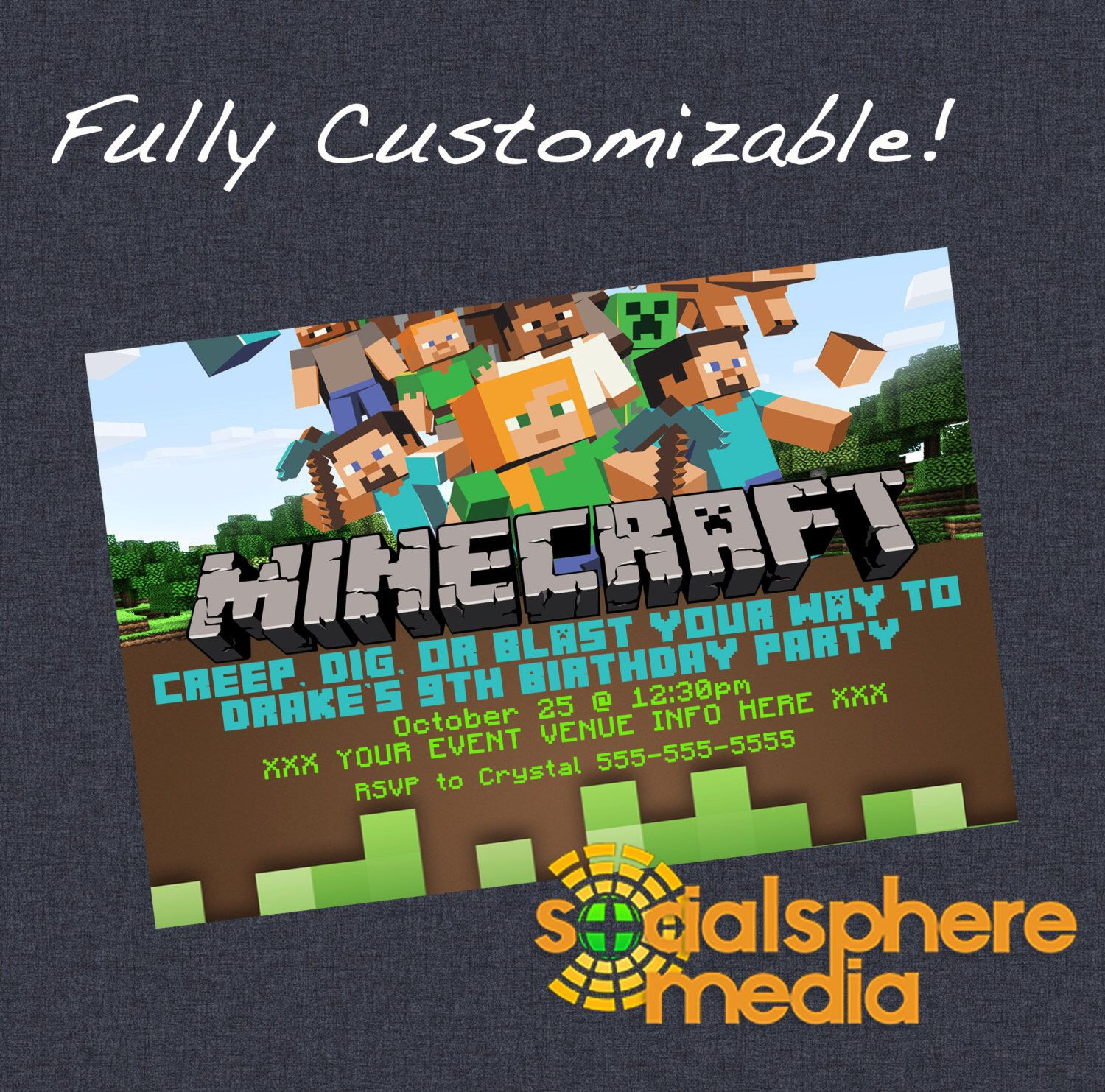 Minecraft Birthday Invites Minecraft Birthday personal character