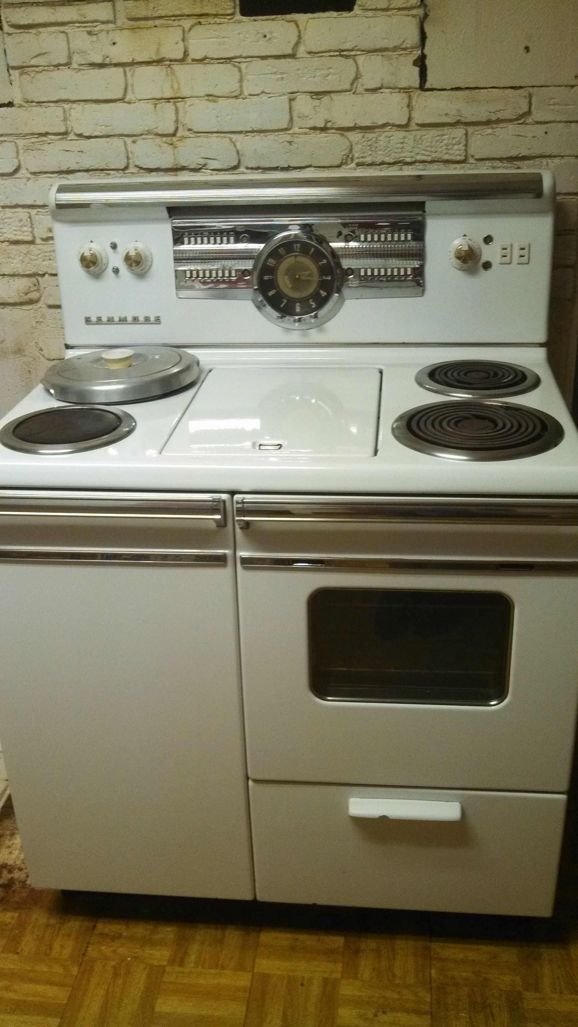 An amazing old Sears electric stove I got off craigslist for