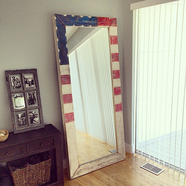 DIY - Vintage White Washed Mirror Frame, American Flag DIY #Vintage ...