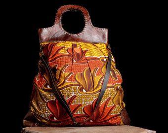 Orange handbag, African fabric bag, African printed bag, Shoulder bag, Crossbody bag, Retro fabric handbag, wax print, womens gift, For her