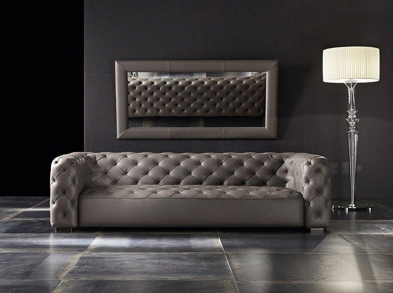 Tufted Italian Genuine Leather Sofa
