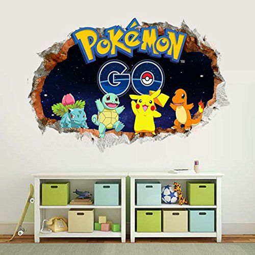 Fangeplustm diy removable through wall digimon pokemon pikachu bulbasaur squirtle charizard cartoon vinyl waterproof wall stickers kids room decor nursery