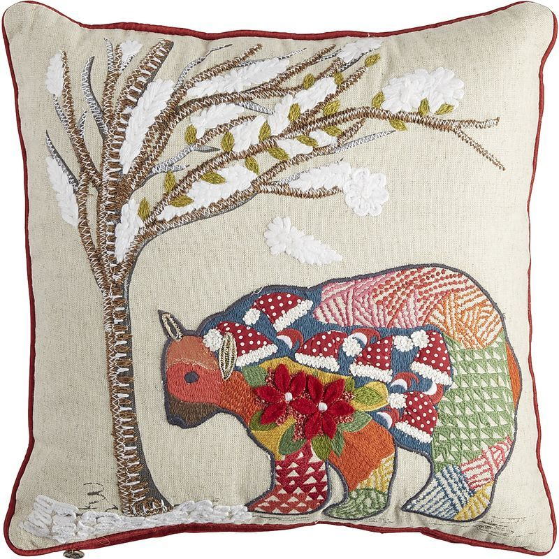 Holiday Patchwork Bear Pillow Pier 40 Imports Pillow Covers Extraordinary Pier 1 Pillow Covers
