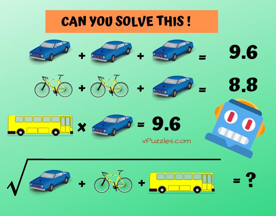 vehicle math brain teaser picture iq puzzle Brain