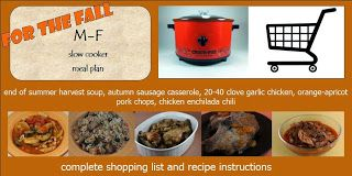 mon thru fri slow cooker meal plan w/grocery list for the fall