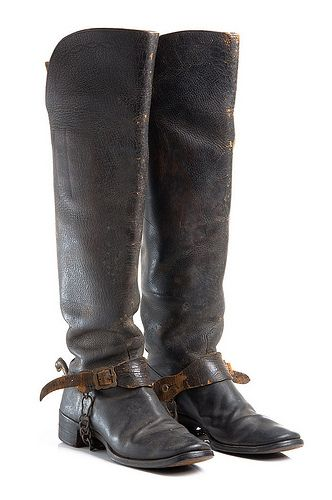 Leather boots, part of Charleston Light Dragoons uniform, c. 1886.  Worn by Capt. Samuel Gaillard Stoney. Charleston Museum.