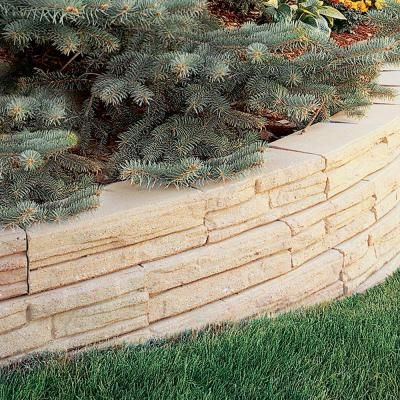 7 In X 12 In Antique Natural Impressions Flagstone Concrete Wall Block 86938 The Home Depot Concrete Retaining Walls Concrete Wall Concrete