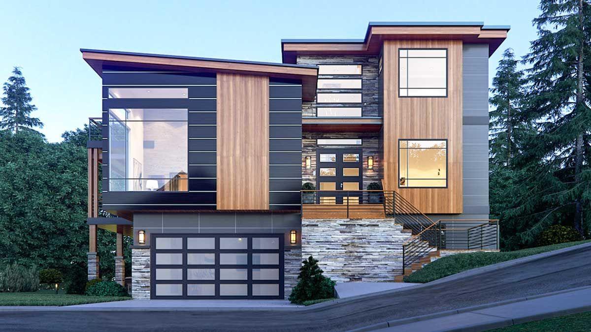 Plan 666030raf Distinctive Contemporary House Plan In 2020 Contemporary House Plans Contemporary House Transom Windows
