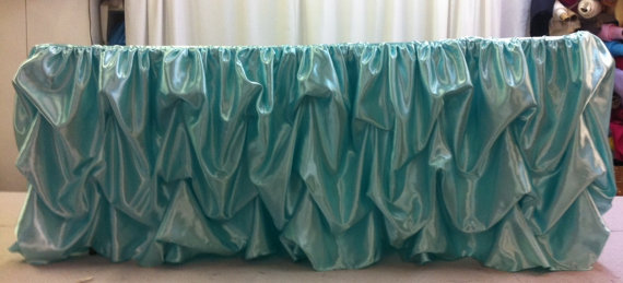 Custom Made Wedding Cake Table Head Table Tablecloth Tiffany Blue Satin.  $95.00, Via Etsy.