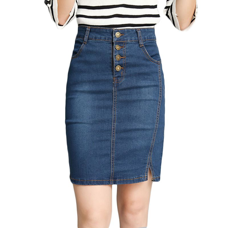 562311ef7fe New Casual Knee Length High Waist Bodycon Pencil Denim Skirt Ladies Slim Long  Jeans Skirts Midi