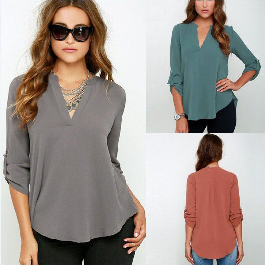 e0c52d65e85 V-neck Chiffon Wrinkle Loose Plus Size Blouse