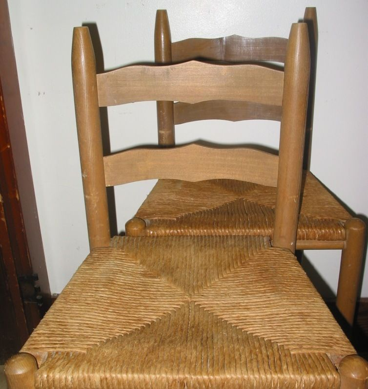 1 Vintage Wood Painted Stencil Rush Wicker High Chair Low