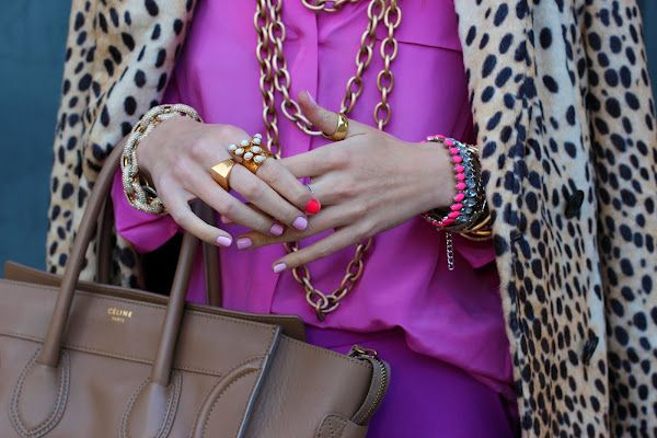 Nude, sherbet colours, leopard print, gold.  All ideal for accessorizing.
