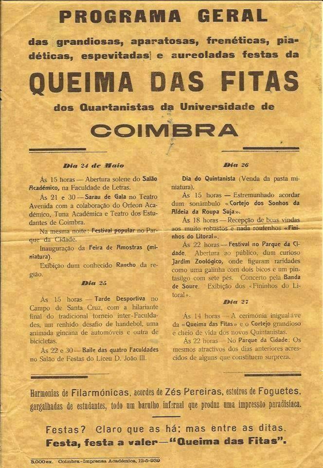 Programa Geral Da Queima Das Fitas De Coimbra 1939 Universidade