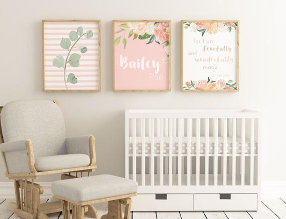11x14 Personalized Nursery Art Blush Baby Wall Set Custom Decor