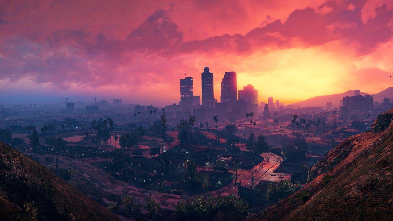 Grand Theft Auto V, Los Santos, Sunset, HD, 4K Grand