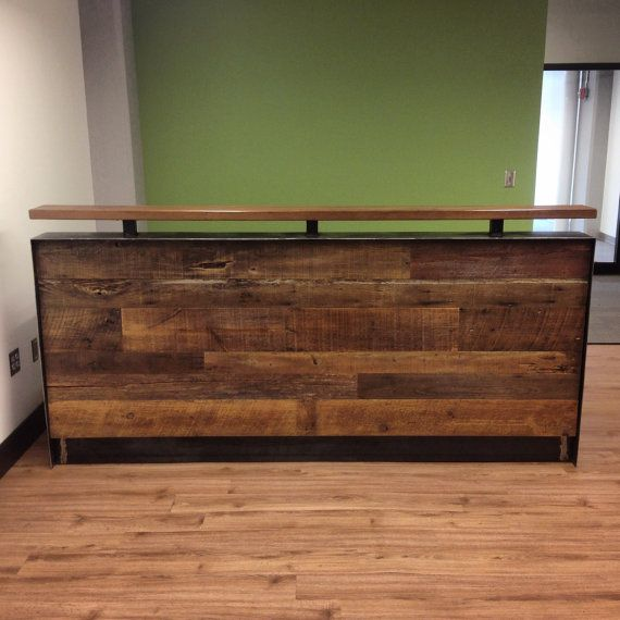 Reclaimed Wood Amp Steel Reception Desk Wall Shelf With