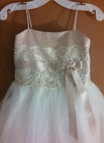 3d26271cacd David's Bridal ** Flower Girl Ivory/Champagne Dress * Spaghetti ...