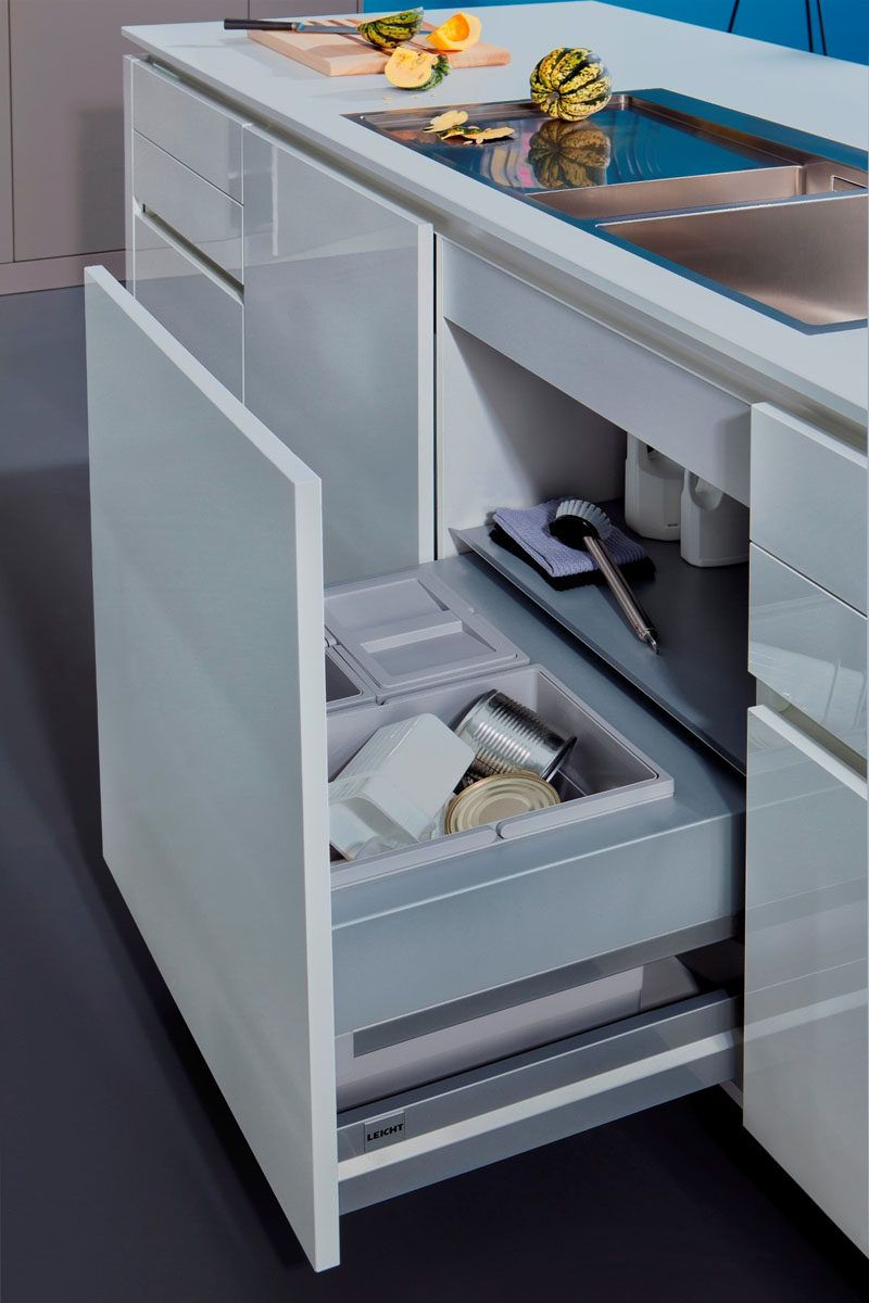 Kitchen Design Idea Hide Pull Out Trash Bins In Your Cabinetry Modern Kitchen Trash Cans Kitchen Trash Cans Pull Out Drawers