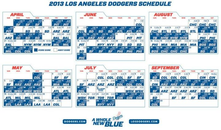 Dodgers 2013 Schedule With Images Dodgers Los Angeles