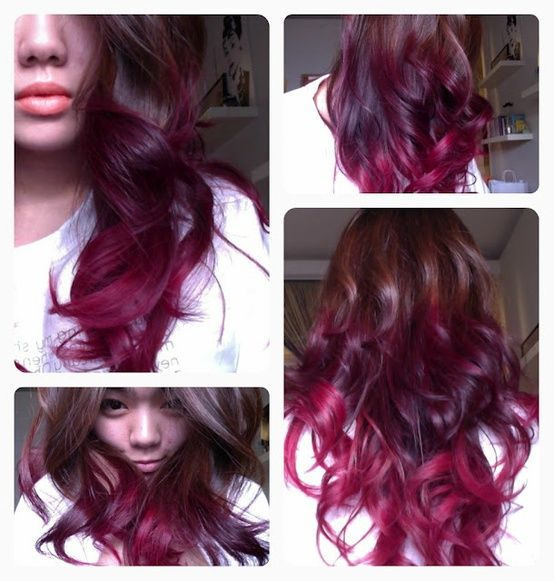 Deep Red Purple Ombre Hair Dye Tips Red Ombre Hair Hair Styles