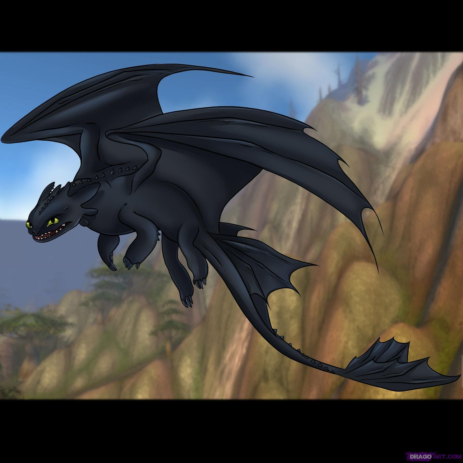 how to draw toothless dragon