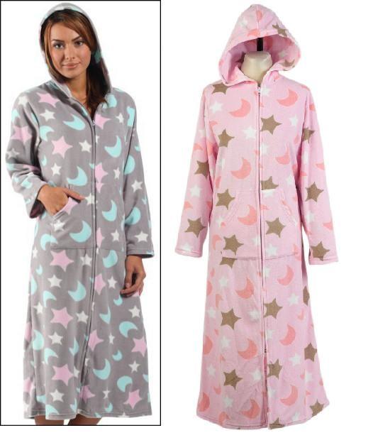 Ladies Zip Up Dressing Gown Polar Fleece Hooded Bath Robe Moon