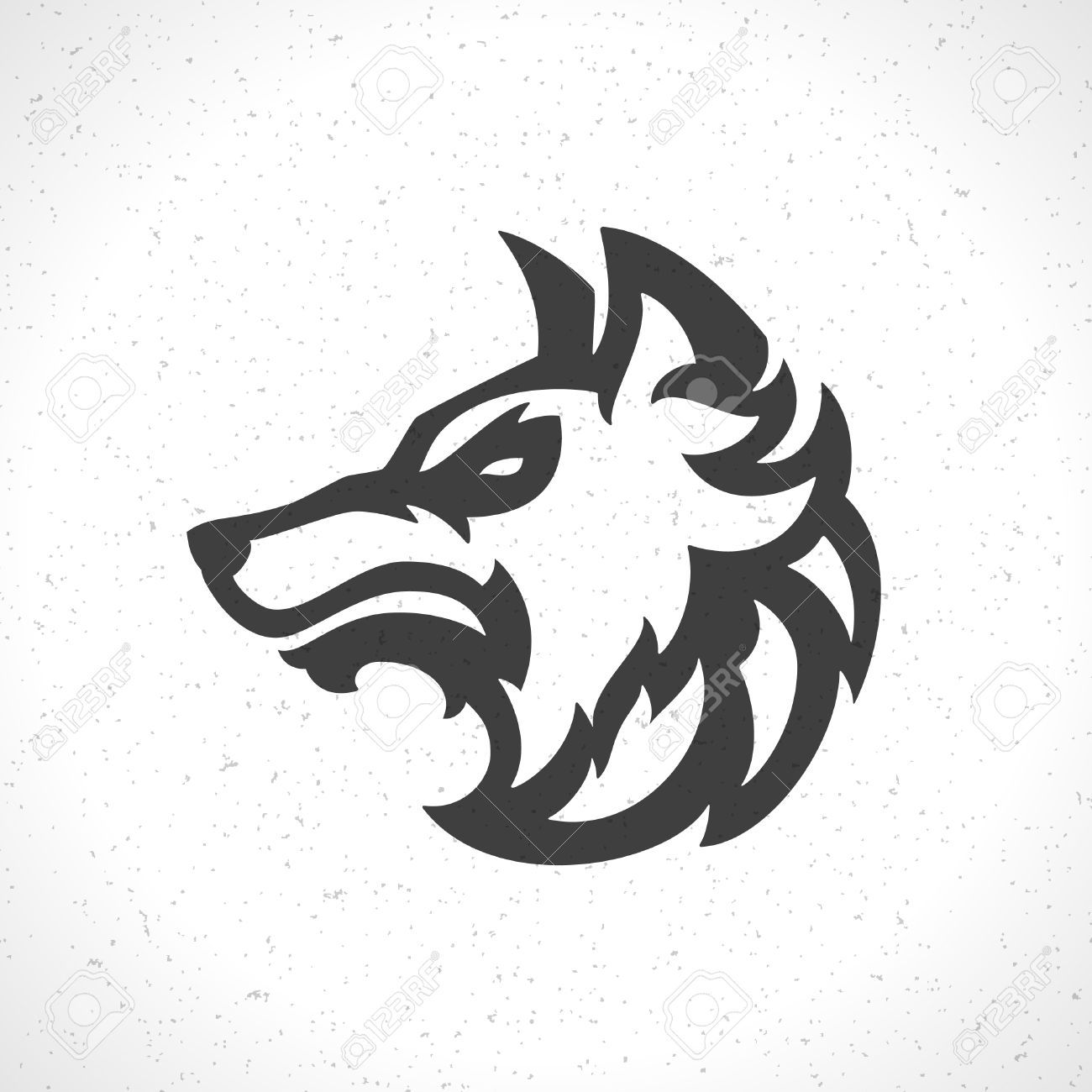 wolf head silhouette: Wolf face icon emblem template mascot symbol ...