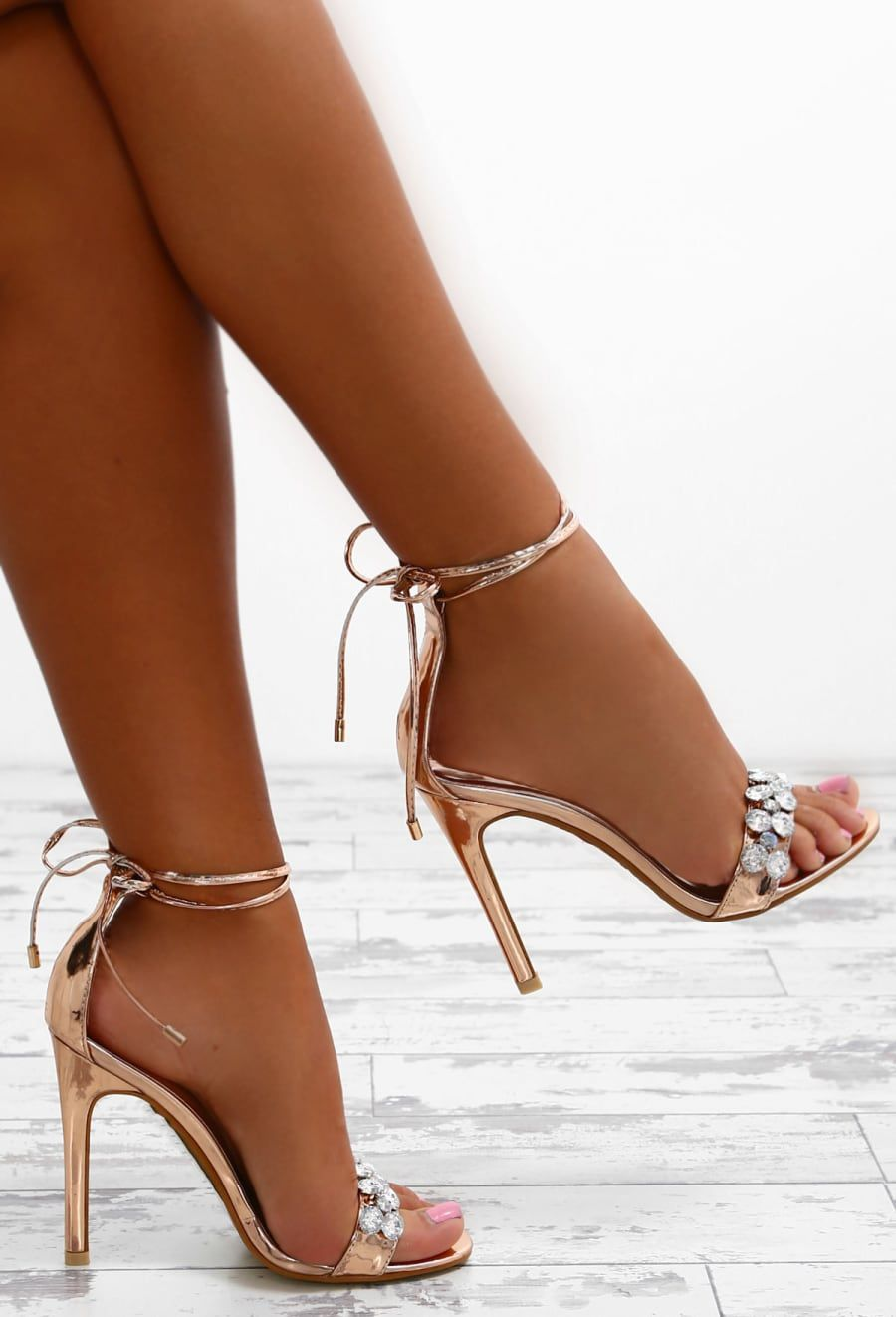 dfc0d3c27a5 Princess Party Rose Gold Embellished Ankle Wrap Heels - UK 6 in 2019 ...