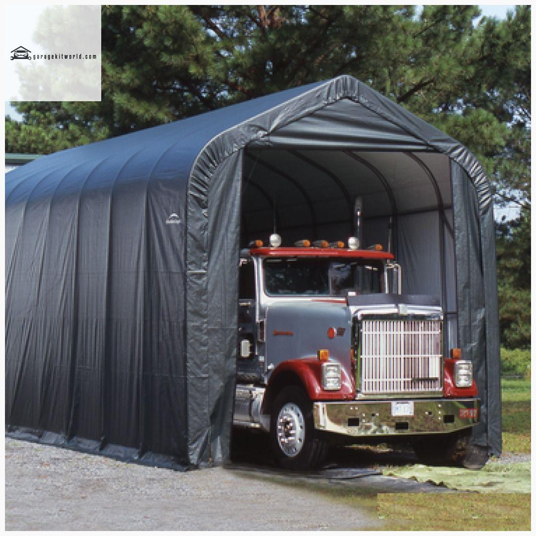 Sheltercoat Gray 15 X 20 Peak Portable One Car Garage With Images Portable Garage Shelter Rv Shelter