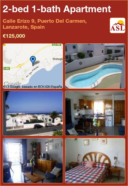 2-bed 1-bath Apartment in Calle Erizo 9, Puerto Del Carmen, Lanzarote, Spain ►€125,000 #PropertyForSaleInSpain