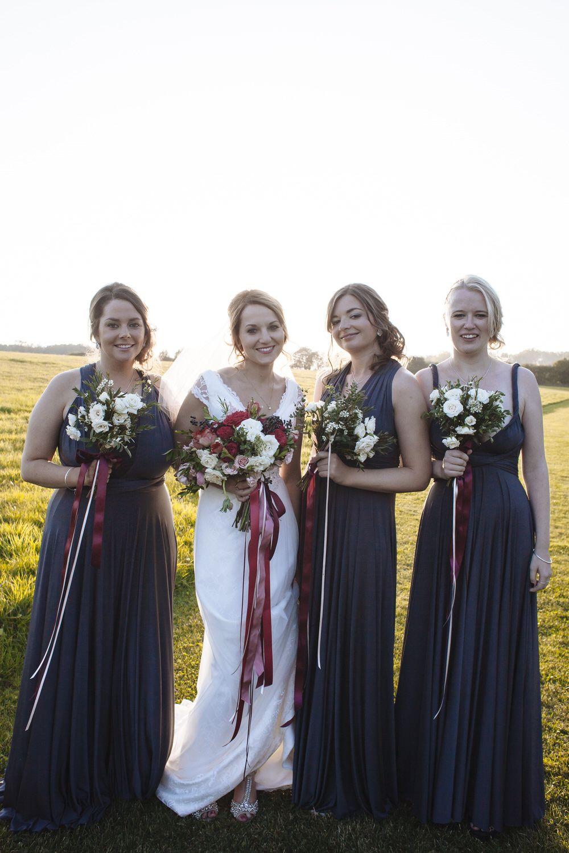 Cripps Barn Wedding Natalia By Amanda Wyatt Twobirds Bridesmaids Dresses In Pewter Ercream And Dreams Cake Sarah Morris Photography