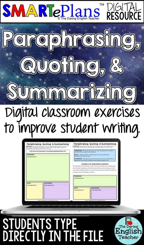 Paraphrasing Quoting Summarizing Digital Unit Distance Learning Writing Teaching Practice And Worksheet