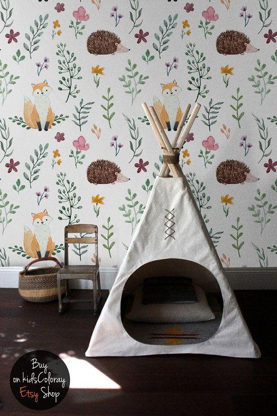 Kids Wallpaper Animals Fox Hedgehog Plants Wall Mural