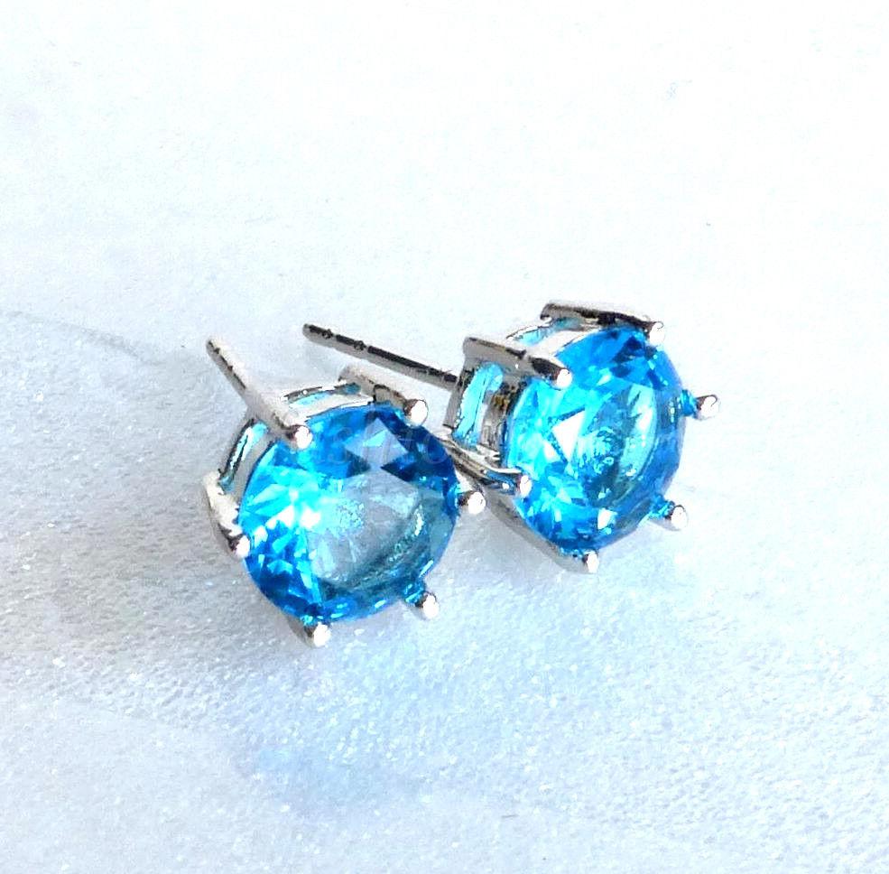 92122247cf15ab White Gold Plated Aqua Sea Blue Simulated Diamond Men Boy Stud Earrings  6.5Mm
