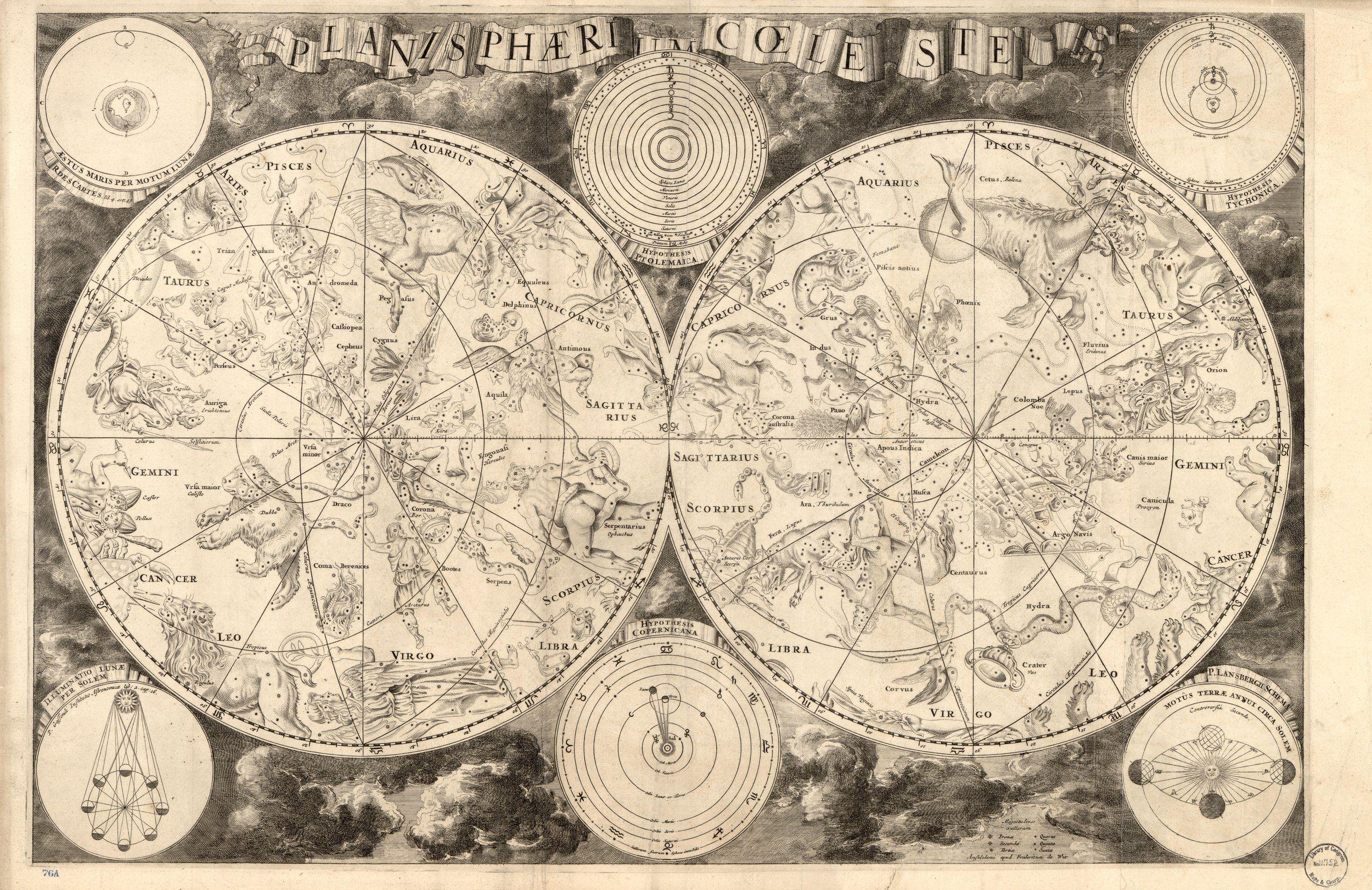 Astrology Constellation Map Vintage Wall Art Print Home Decor Zodiac Art Celestial Chart Canvas Art Prints