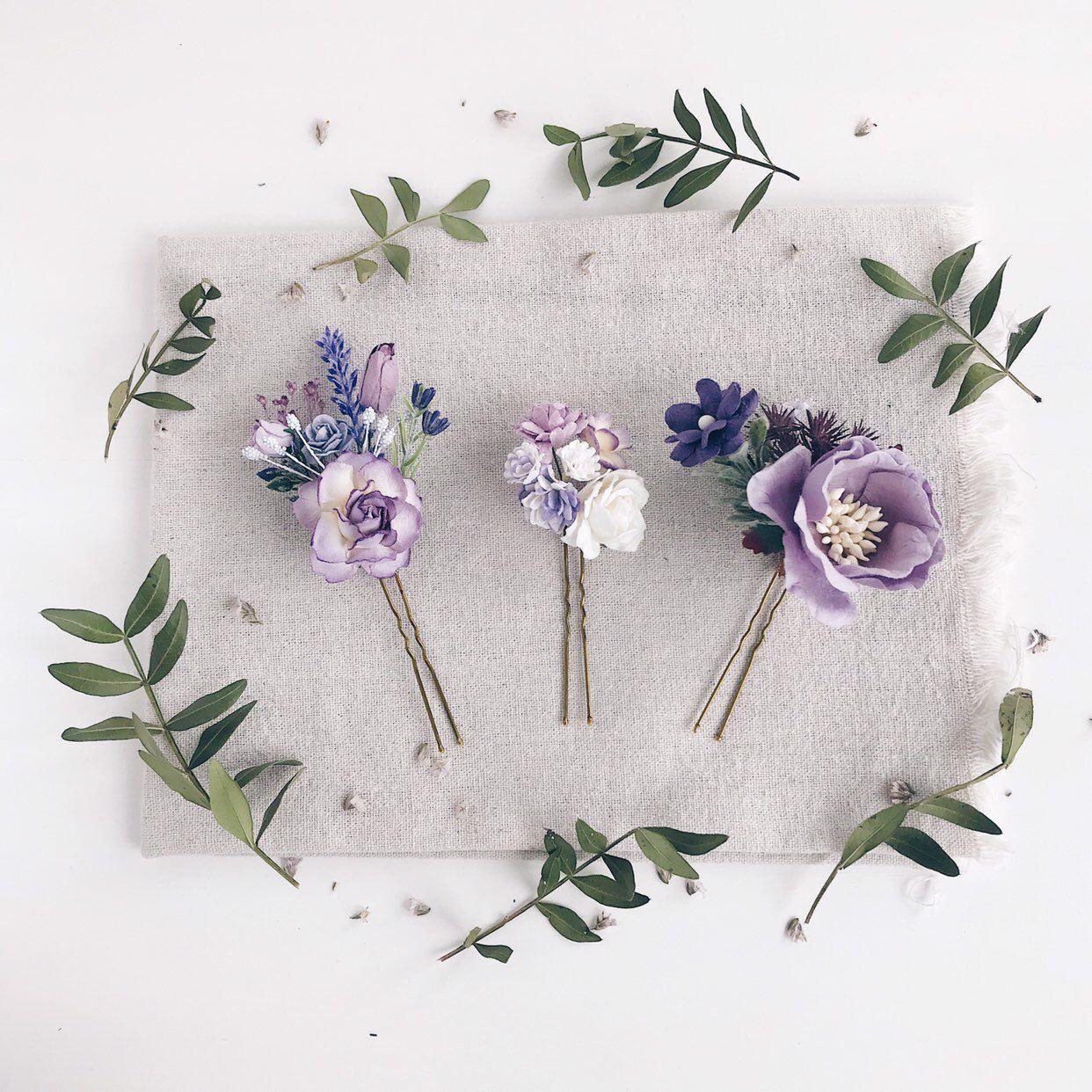 Flower Hair Pins Lavender Flower Hair Pins Rustic Flower Hair Clip Purple Wedding Hair Piece Bridal Flower Hair Pins Bridesmaids Gift Manualidades Accesorios De Joyeria Peinetas