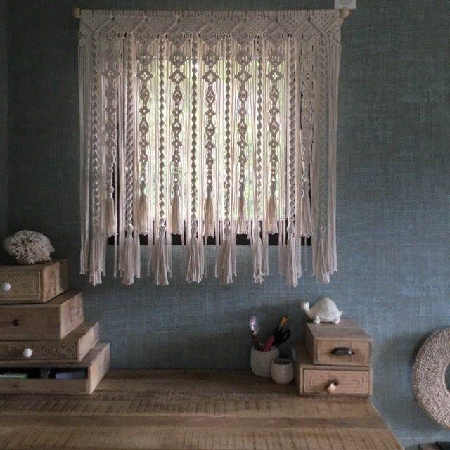 Kitchen window Macrame curtain boho Home Decor Large wall hanging