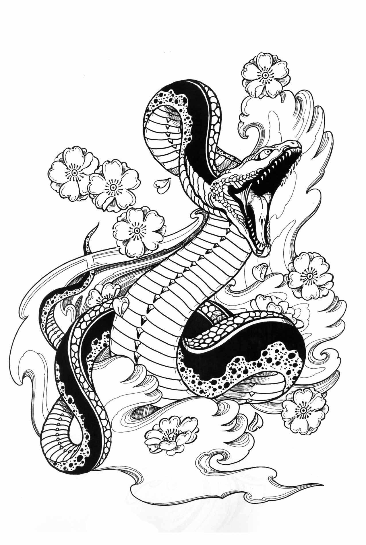 Snakes, Hawks &Tigers by Horimouja Snake tattoo design