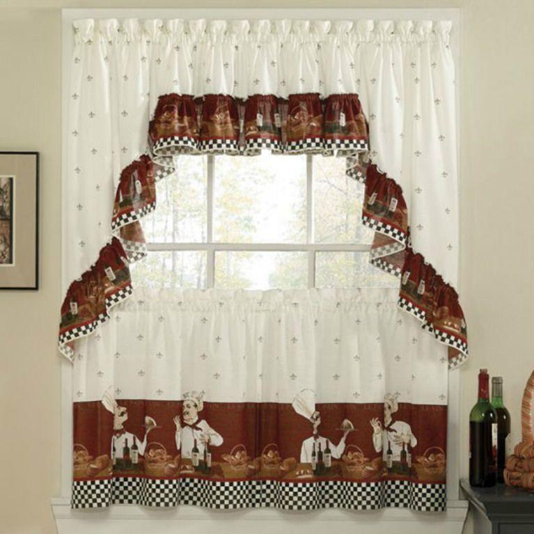 FATCHEF SAVORY CHEF WINE Kitchen Curtains Tiers W Valance Red Tan Home Decor CHFINDUSTRIES 3PcKitchenTiersValanceSet