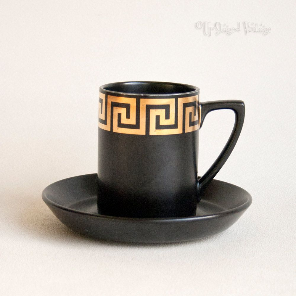 Vintage Retro 1960s Portmeirion Pottery Black Gold Greek Key Coffee Cup And Saucer By Upstagedvintage On Etsy