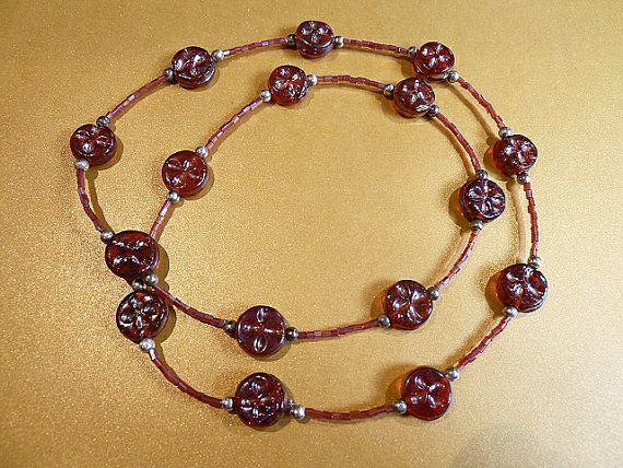 Iridescent Red Glass Lampwork Beaded Necklace  Dark by BorderBeads, £8.95
