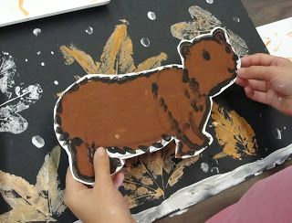 Old Bear: Leaf Print and Bear Painting
